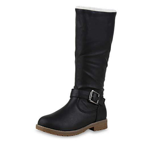 SCARPE VITA Warm Gefütterte Damen Stiefel Kunstfell Boots Winterstiefel 172582 Schwarz Braun 40