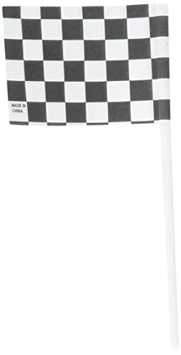 Oasis Supply 36 Count Cake/Cupcake Topper, Black and White Racing Checkered Flags