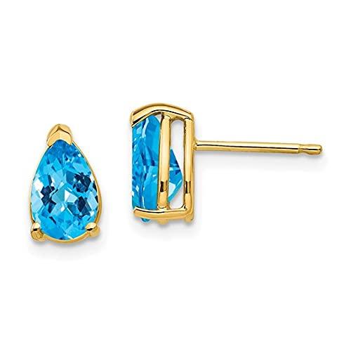 Jewelry-14k 8x5mm Pear Blue Topaz Checker Earrings
