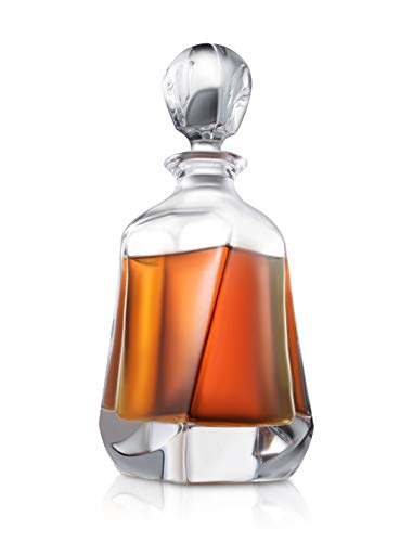 Aurora Whisky-Dekanter – 25oz Crystal Modern Dekanter – Bleifreier kleiner Likör-Dekanter mit Stopper – Schnaps-Karaffe für Whiskey, Bourbon, Brandy, Likör und Rum – Scotch Bar Container