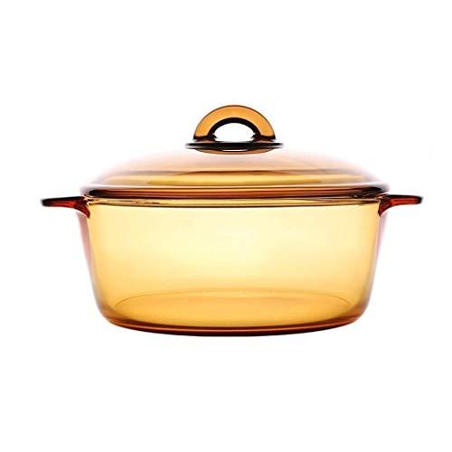 Chiaro rotonda Casseruola con coperchio in vetro di calore freddo e Shock Proof Forno Congelatore e lavastoviglie POT della minestra Pentola da stufato Binaural trasparente di cristallo di vetro ambra