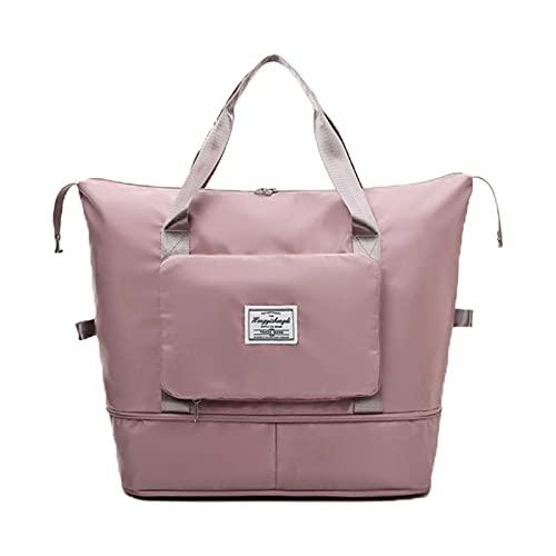 Borsa da viaggio pieghevole di grande capacità, leggera e pieghevole in tessuto Oxford, borsa da viaggio per lo shopping fitness con cinturino fisso (rosa scuro)