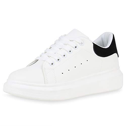 SCARPE VITA Damen Plateau Sneaker Basic Turnschuhe Schnürer Plateauschuhe 175950 Weiss Schwarz Velours 39