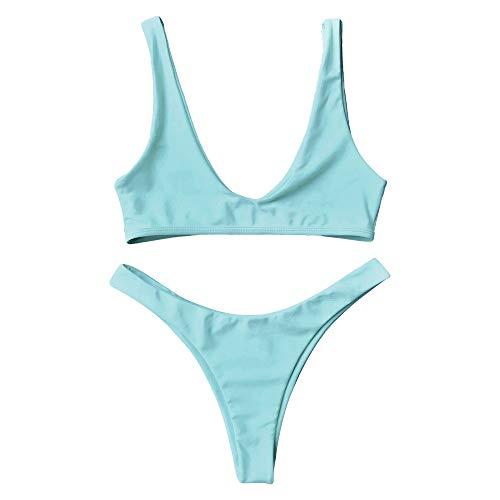 Zaful Badeanzug, hoch geschnittener frecher Tanga-Bikini mit Rundhalsausschnitt, zweiteiliger Badeanzug für Frauen -  Blau -  Medium