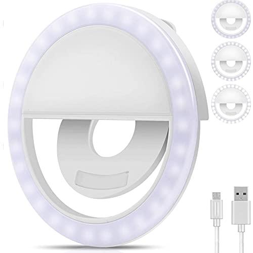 Anillo de luz para selfie, teléfono móvil, anillo de luz para selfie, recargable por USB