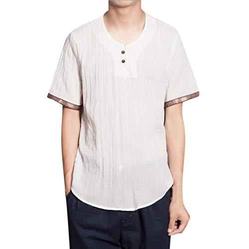 Modaworld Camicia Lino Uomo, Camicie Casual da Uomo, Henry Shirt, T-Shirt Leggera a Manica Corta Estate Casual Polo da Uomo Maglietta Manica Corta Maglietta Camicia