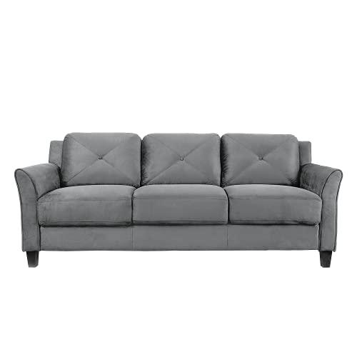 "Lifestyle Solutions Collection Grayson Micro-Fabric Sofas, 80.3"" x 32"" x 32.68"", Dark Grey"