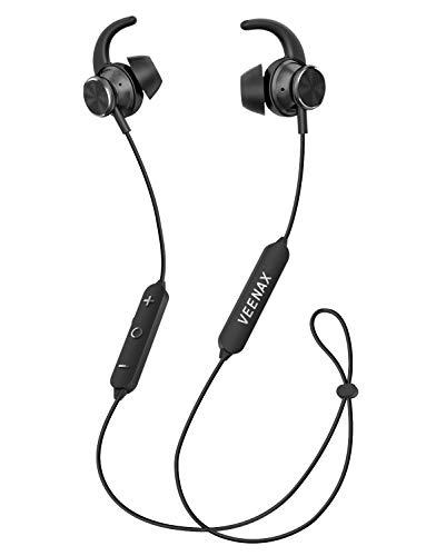 VEENAX Fly Cuffie Wireless Bluetooth, Auricolari Sportivi Senza Fili con Microfono, 12 ore di autonomia, Impermeabilità IP67, Anti-sudore, Auricolare Magnetici Stereo In-Ear per Corsa - Nero