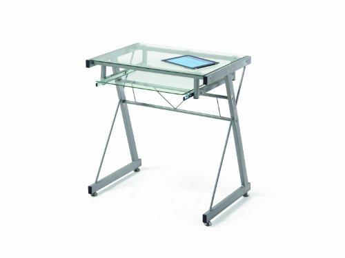 duehome Mesa de Ordenador, Mesa PC, Mesa Office, Modelo Einstein, Acabado en Cristal y Metal, Medidas: 70 cm (Ancho) x 46 cm (Fondo) x 72 cm (Alto)