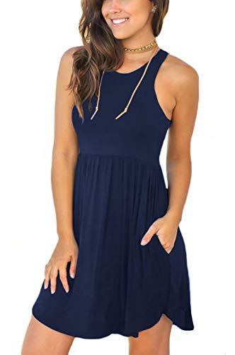 Unbranded Women#039s Sleeveless Loose Plain Dresses Casual Short Dress with Pockets Medium 03 Navy Blue