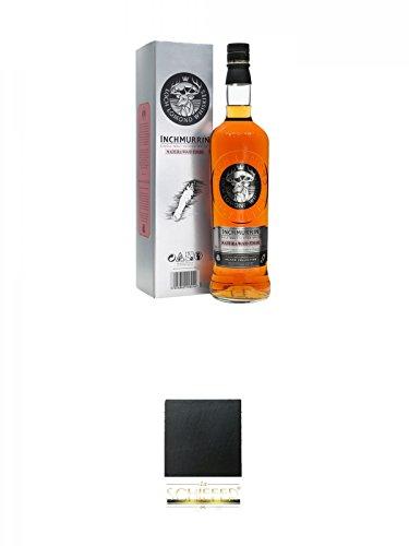 Inchmurrin MADEIRA Single Malt Whisky 0,7 Liter + Schiefer Glasuntersetzer eckig ca. 9,5 cm Durchmesser