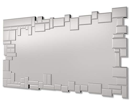 DekoArte E075 - Espejos Decorativos Modernos De Pared | Espejos Decoración para Tu Salón Dormitorio, Entrada, Recibidor | Espejos Sofisticados Grandes Rectangular Color Plata | 1 Pieza 120 x 70 cm