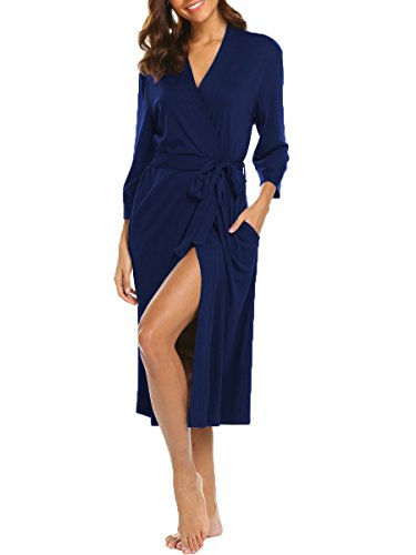 LaLaLa Bademantel Damen Morgenstern Lang Schwangere Maternity Kimono Saunamantel Navy blau XL