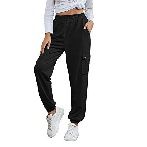 YANFANG Pantalones Casuales Deportivos Caseros De Color Puro con Cordones Moda para Mujer,Pantalones Ocio Casa...