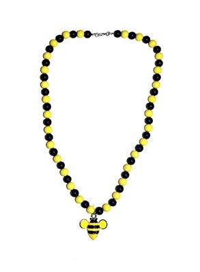 Funny Fashion Perlenkette Biene gelb/schwarz mit Bienenanhänger ca. 30cm