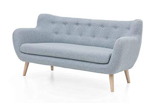 Furniture for Friends Möbelfreude Couch Jana Pastellblau Sofa Dreisitzer mit Massivholz-Füßen - Buche 86 cm (H) x 182 cm (B) x 80 cm (T)