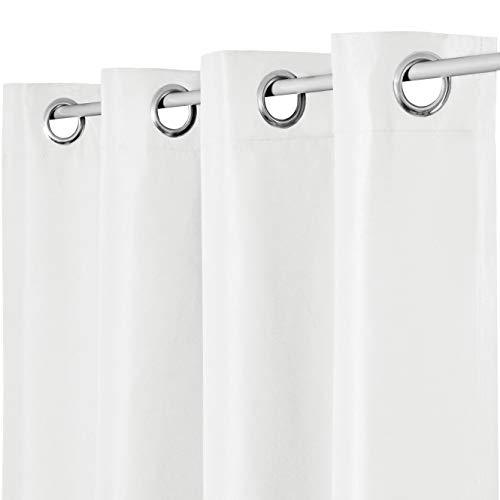Vorhang Gardine Ösenschal Ösenvorhang Blickdicht Lichtdurchlässig Sichtschutz Fensterschal Dekoschal (280x245 cm, Weiss 2er Set)