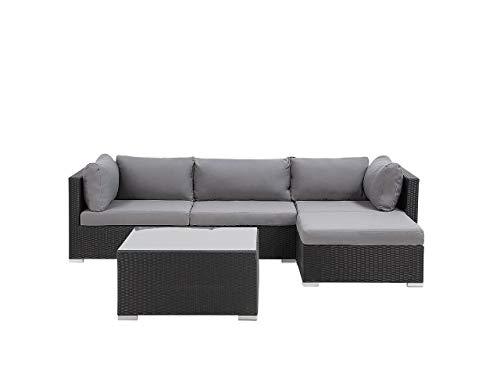 Beliani Exklusives Gartenmöbel 4er Set aus Rattan schwarz Sano II