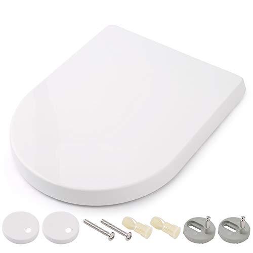 Sedile WC, HIMIMI Copriwater Tavoletta Wc con Chiusura Ammortizzata Sgancio Rapido & Dimensione Standard Universale e Compatibile & Nessun Sbattere Senza Rumore (450 x 361 x 53 mm)