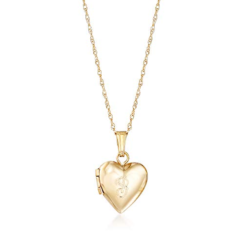 Ross-Simons Baby's 14kt Yellow Gold Single Initial Heart Locket Necklace