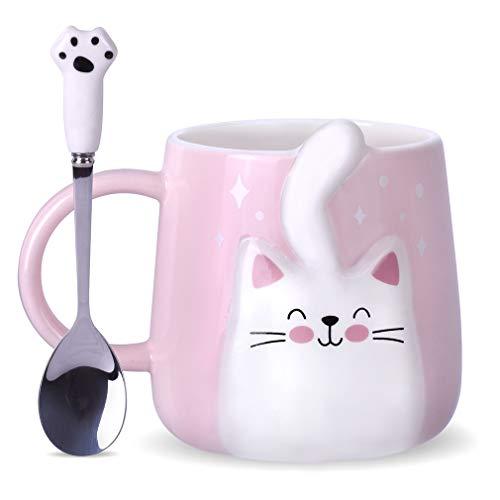 Notrefly Katzen-Tasse und Löffel, süße Keramik-Kaffeetasse, Katzen-Teetasse für verrückte Katzenliebhaber, Frauen, Jungen und Mädchen, rosa