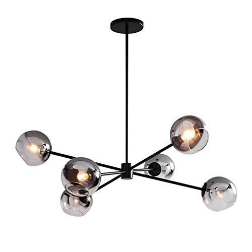 Lámpara de araña moderna, sala de estar Villa cubierta interior Lámpara colgante moderna, lámpara de cocina de vidrio de iluminación de bolas de vidrio-Black and Soot Cover 6t WULOVEMI