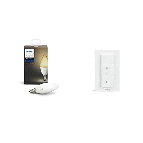 Philips Hue White Ambiance - Lampadina E14 LED, Dimmerabile, Tutte le sfumature del bianco, Controllabile tramite app, 1 Pezzo & Hue Lighting Telecomando Dimmer Switch per Sistema, Bianco