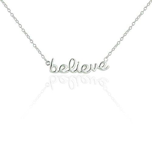 SILVER EMPIRE Fine Jewelry | 925 Sterling Silver Pendant for Women | BELIEVE Necklace in Elegant Script | 16 Inch Chain + 1' Jump Link Extension | E Coat Finish | Lobster Lock | Hypoallergenic