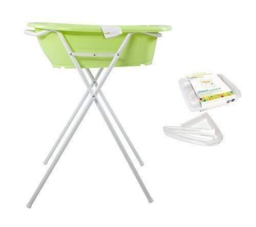 Stands de bain inclus anatomique baignoire pour bébé Tuyau de vidange et Gant à laver Funny Farm vert