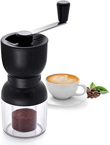 SUREWIN Manuelle Kaffeemühle, Kaffeemühle Manuell mit Keramikmahlwerk Verstellbarer Mahlgrad Kaffeemühle Hand Espressomühle