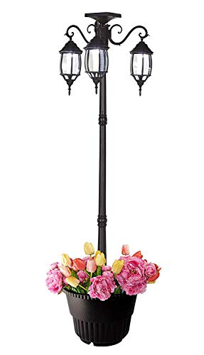 3-Head LED Solar Lamp Post Light with Planter for Outdoor and Yard - 6.7 ft (80 in) Black