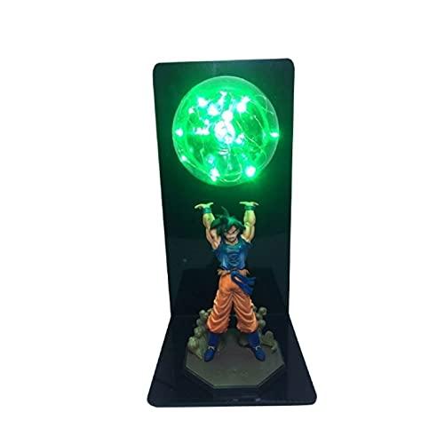 LXYY Dragon Ball Z Super Goku Figura Bombas De Fuerza Lámpara De Mesa Led Verde Lámpara DBZ Goku Dormitorio Decorativo Luz Nocturna Colección Juguetes 24Cm
