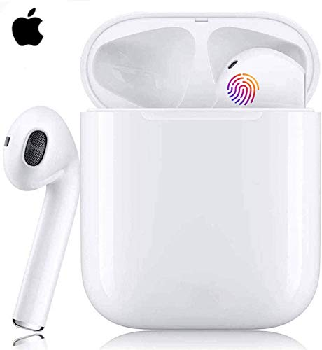 Auriculares Bluetooth 5.0 Auricular Inalámbrico Control Táctil con Graves Profundos In-Ear Auriculares Bluetooth con Caja de Carga Rápida IPX5 Impermeables,para Android/iPhone/Airpods/Samsung (blanco)