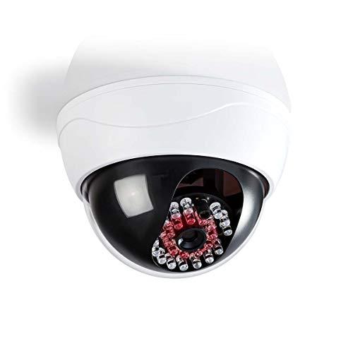 TronicXL Profi IP44 Kameraattrappe Dome Kamera Dummy mit leuchtenden IR LEDs Überwachungskamera Überwachung Kamera Attrappe Decke