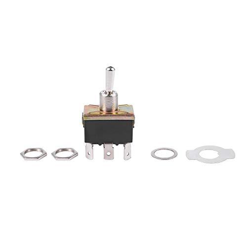 Kuinayouyi AC 250V / 125V 10A / 15A DPDT 3 Posicion ON/OFF/ON 6 Botones interruptor electrico Negro + Plata
