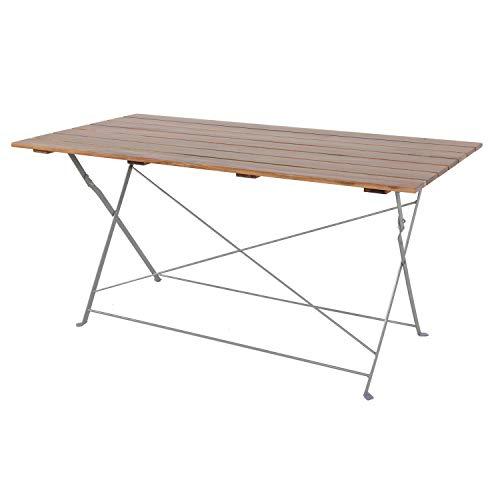 Mojawo Esstisch Klapptisch Biergarten Tisch Gartentisch klappbar Akazie Stahl pulverbeschichtet 120x60cm