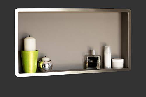 Estantes de baño | estante de ducha empotrado de pared acero inox , 60x30, nicho de ducha COMPONENDO, Made In Italy (Color VISÓN)