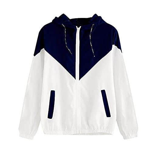 Hooded Jackets for Women Lightweight Casual Patchwork Thin Skinsuits Zip-Up Hoodie Solid Sweatshirt Utility Sport Coats Navy
