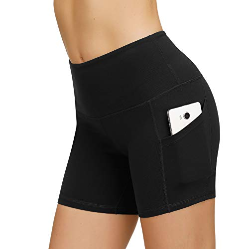 HMIYA Damen Fitness Shorts Sport Leggings Yoga Sporthose Kurze Yogahose Workout Tights Hohe Taille mit Taschen(Shorts-Schwarz,S)