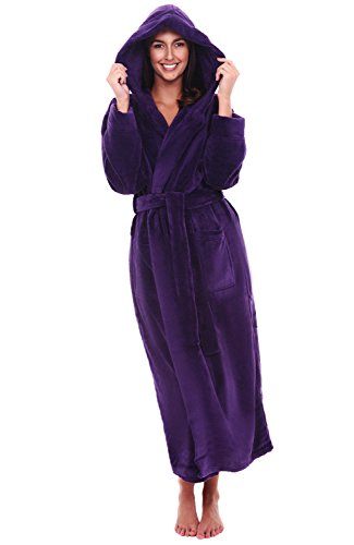 Alexander Del Rossa Women's Plush Fleece Robe with Hood, Warm Bathrobe 3X-4X Purple (A0116PUR4X)