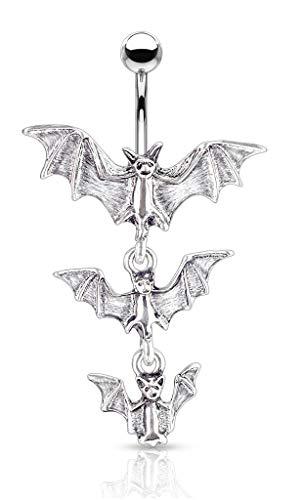 Pierced Owl Gothic Triple Vampire Bat Dangling Belly Button Ring