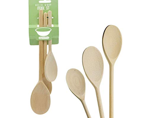 Set of 3 Cooking Baking Spoon for Kitchen, Wooden Beech Spoons for Food Mixing with Solid and Comfortable Handle
