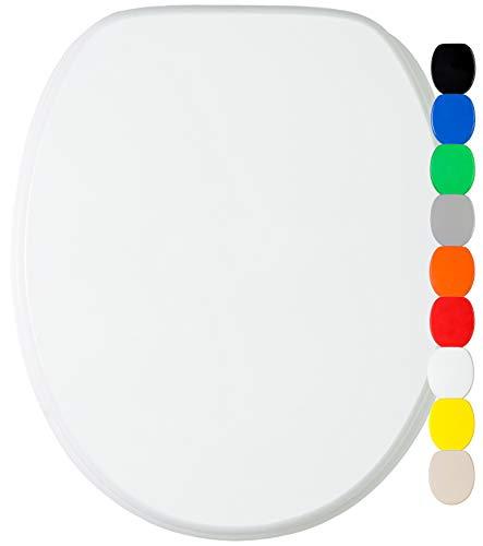 WC Sitz mit Absenkautomatik, viele einfarbige WC Sitze zur Auswahl, hochwertige und stabile Qualität aus Holz (Weiß)