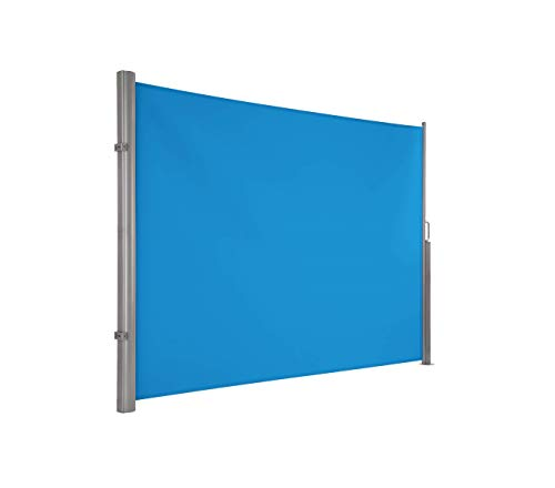 Ultranatura Maui Seitenmarkise, Seitenwandmarkise ausziehbar, Seitenrollo Balkon, Terrasse und Garten, Windschutz und Sichtschutz robust, 300 x 180 cm, blau