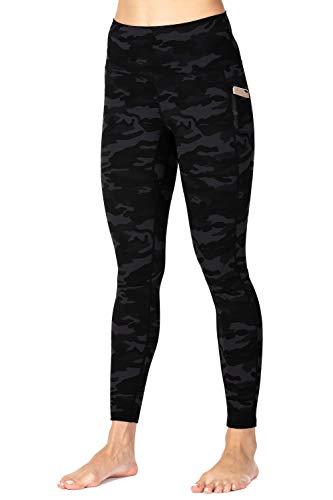 Wirezoll Leggings Damen 7/8, High Waist und Blickdichte Sport Hose mit Taschen,Tarngrau,38