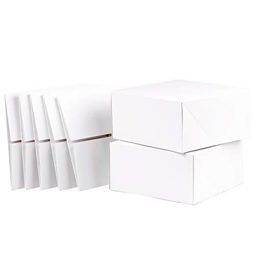 RUSPEPA Scatole Regalo in Cartone Quadrato da 20,5 X 20,5 X 10,2 CM, Confezione Regalo per Tazze da caffè con Coperchio, Confezione da 10 Pezzi (Bianco)
