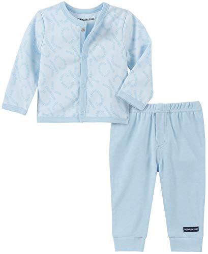 Calvin Klein Baby Boys 2 Pieces Cardigan Pants Set, Powder Blue, 6-9 Months Blue Infant Two Piece
