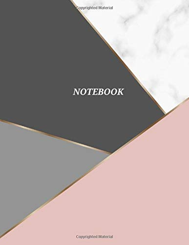 Notebook: Grey, White and Pink Marble with Gold lines Notebook - 120 Ruled Pages - 8.5 x 11 inches Large - Notebook, Diary, Journal (Aesthetic Design)