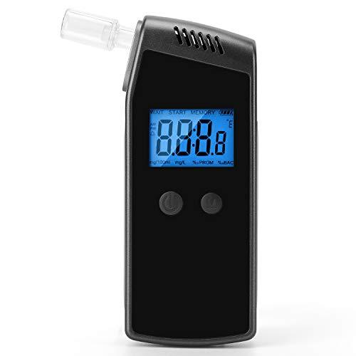 XCAI Etilometro, Tester per Alcol Respirabile Portatile con Schermo LCD Blu Digitale con 10 Bocchini per Driver o Uso Domestico, Ricaricabile USB, Spegnimento Automatico, Allarme Acustico