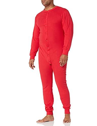 Indera Men's Cotton 1 x 1 Rib Union Suit, Red, Large 865USLGRD